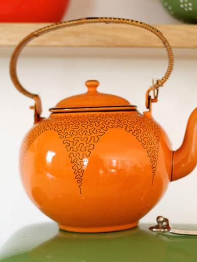 Vintage Dutch Enamelware Orange Teapot