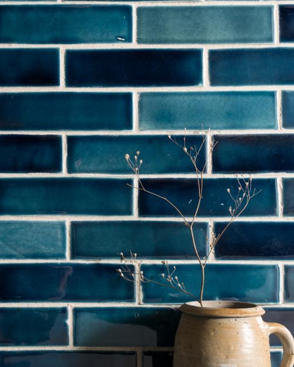 Indian Peacock Blue Handmade Tiles