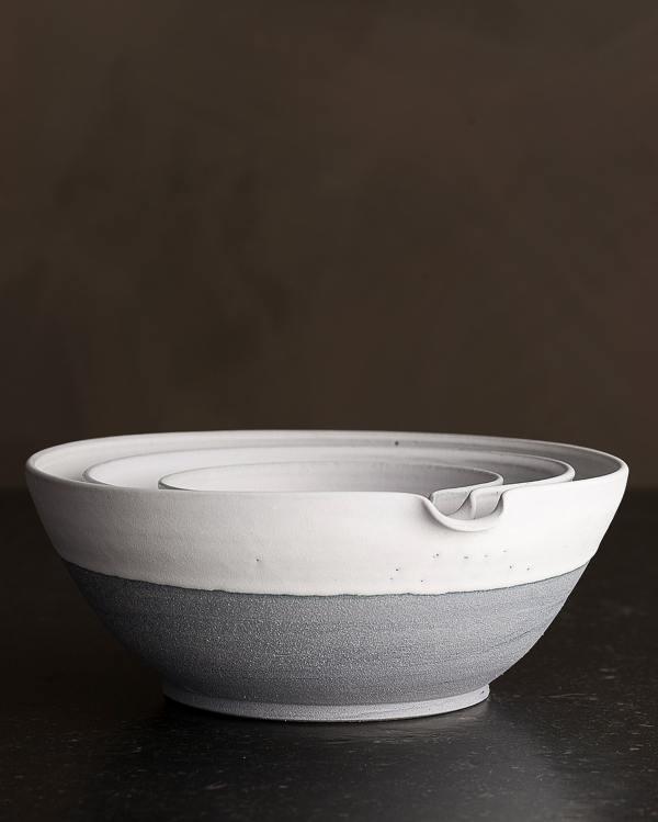 Set of 3 Slate Blue Pouring Bowls